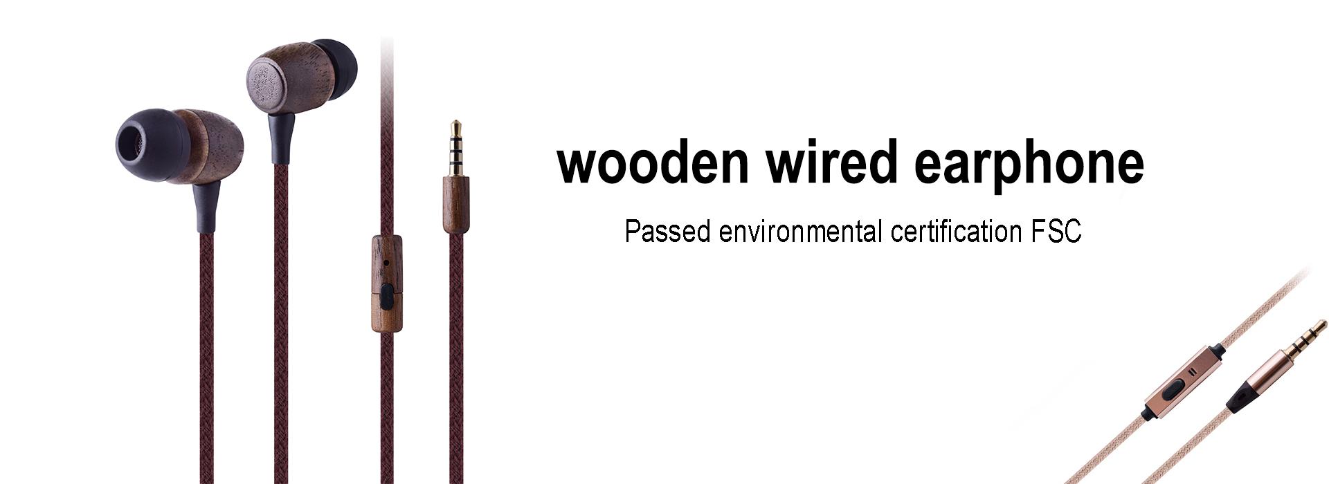 wooden wired earphone