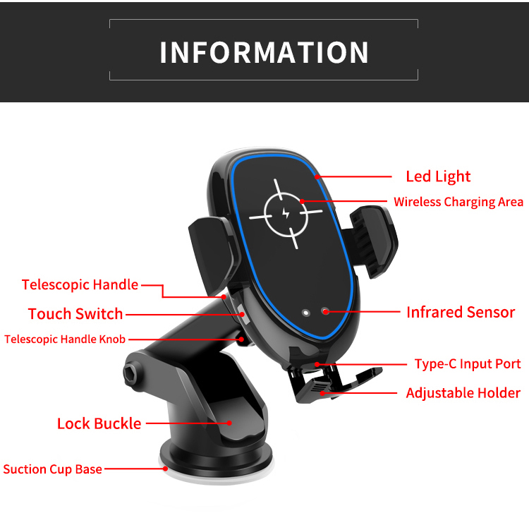 Wireless Car Charger Mount Fast Car Charging QI with smart sensor car wireless charger