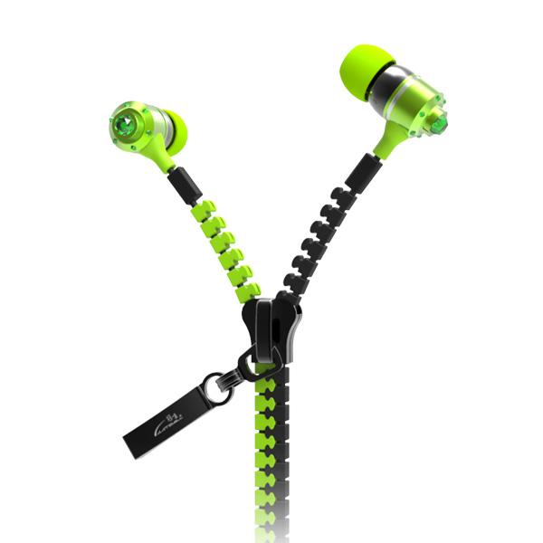 Fashion zipper earphone customized LOGO