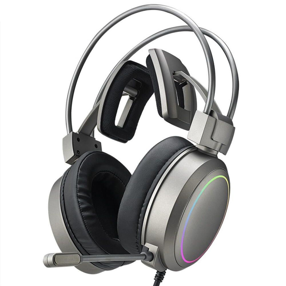 Yeesound G90 Gaming Headset for PS4, PC, Xbox One Controller, Noise Cancelling Over Ear Headphones with Mic, RGB Light, Bass Surround, Soft Memory Earmuffs for Laptop Mac Nintendo PS3 Games