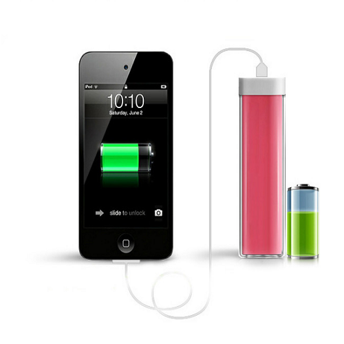 Promotional gift 2600mah mini rectangle lipstick design power bank for cell phone