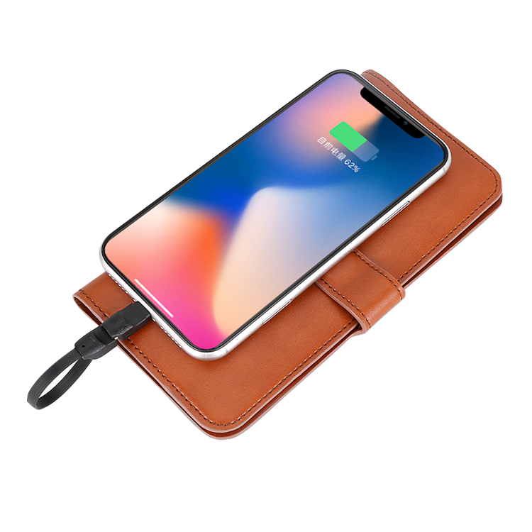 2020 newest Wallet power bank PU/Leather with wireless charger USB C Type c the best gift for ladies/mothers/females