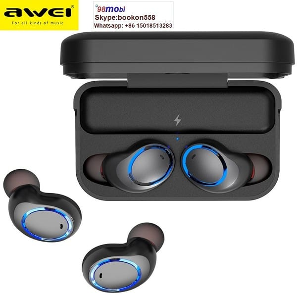 Awei T3 Tws Binaural Bluetooth Earphones Noise Cancelling Waterproof Earbuds