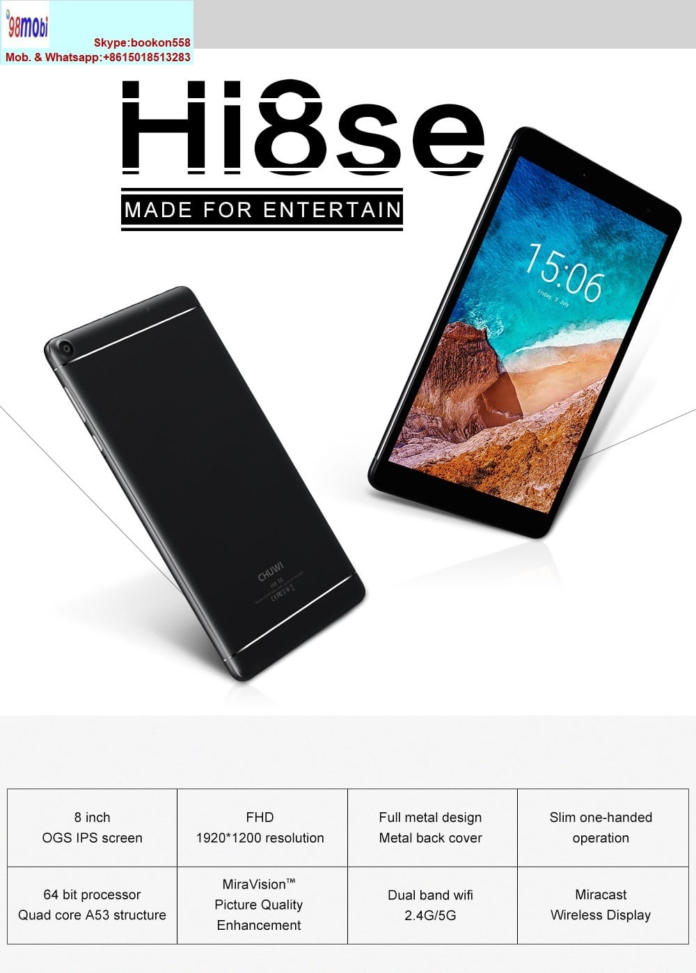 Chuwi Hi8 Se 8.0″ Tablet PC Android 8.0 Quad Core