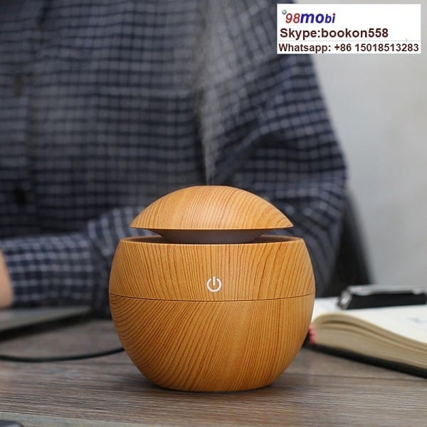 130ml Wood Grain Ultrasonic Aroma Humidifier USB Air Diffuser Purifier