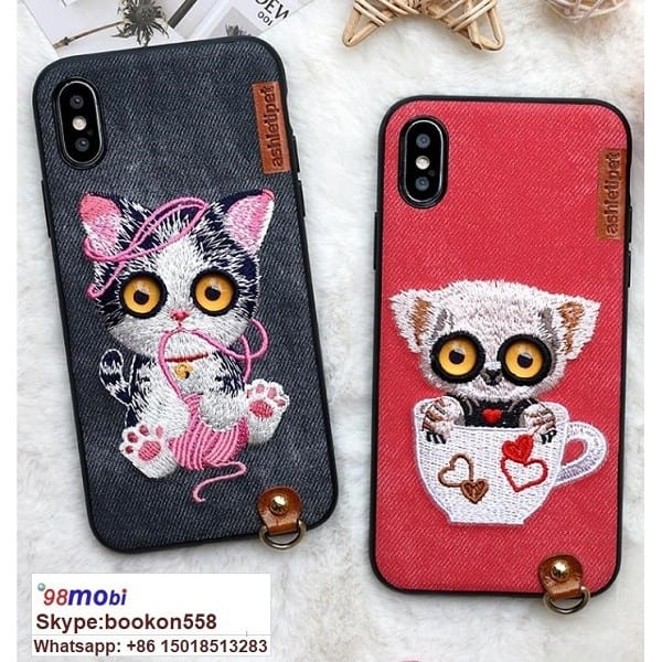 Lanyard Embroidery Case for iPhone X 6s Plus Smart Phone