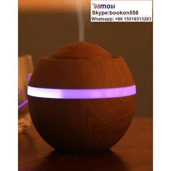 500ml Wood Grain 7 Color LED Light Air Humidifier Diffuser