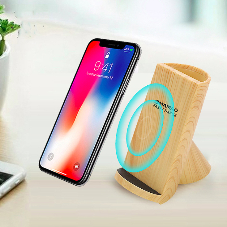 F180-pen holder wooden wireless charger for mobile phone