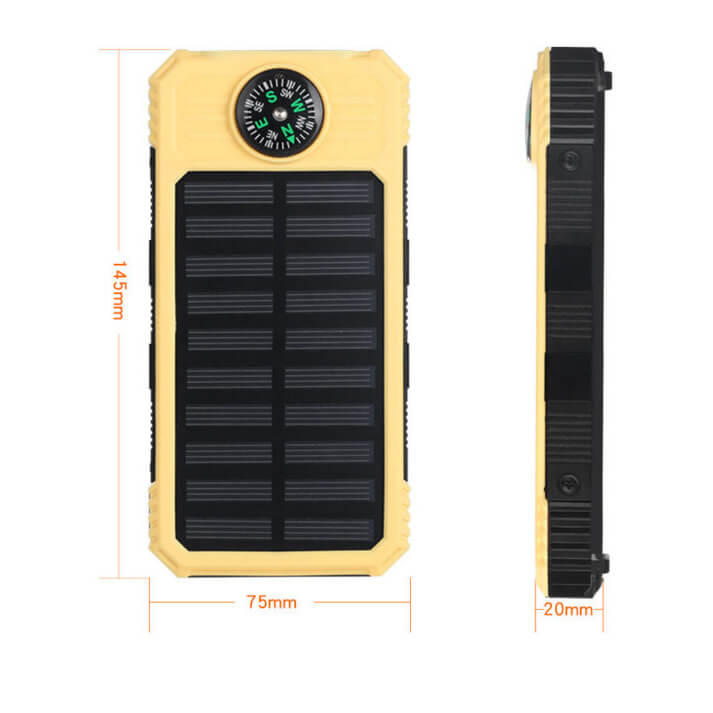 D3-3.7v compass 10000mah solar charger for cell phone
