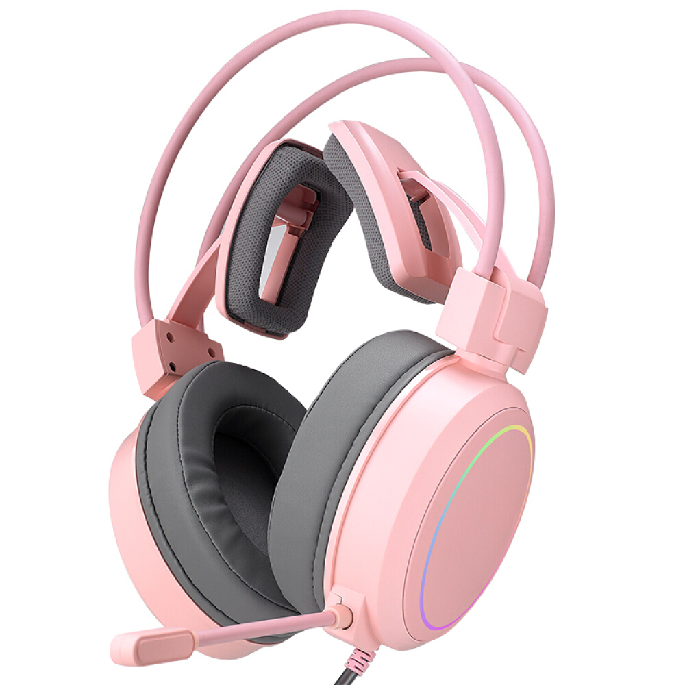 Yeesound G90 Cute Gaming Headset for PS4, PC, Xbox One Controller, Noise Cancelling Over Ear Headphones with Mic, RGB Light, Bass Surround, Soft Memory Earmuffs for Laptop Mac Nintendo PS3 Games