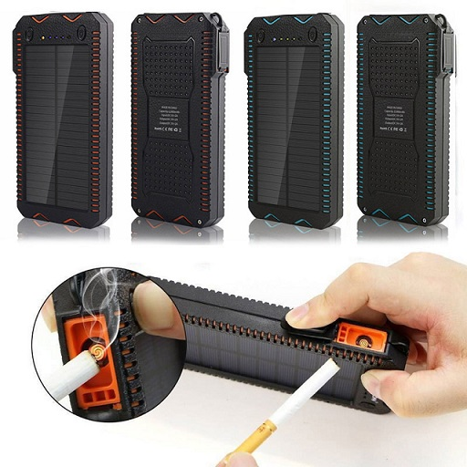 New arrivals dual ports LED torch 20000mah solar power bank with cigarette lighter