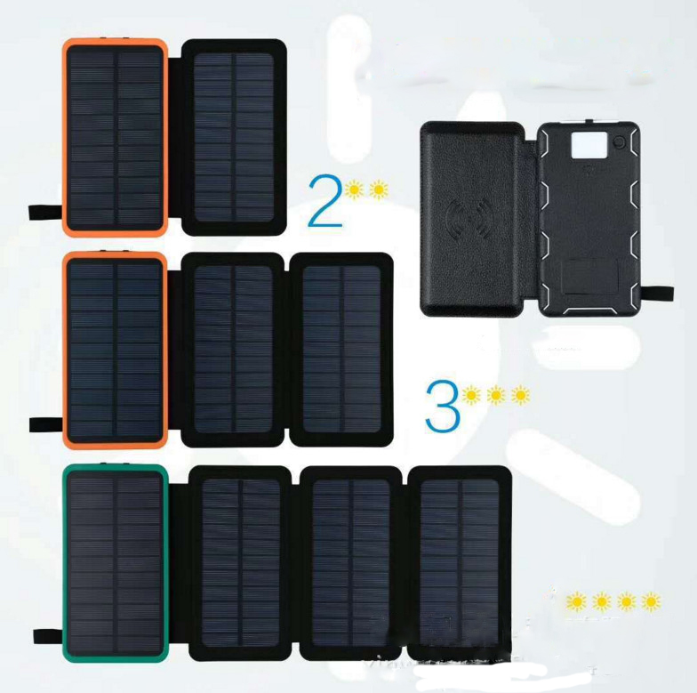 Foldable solar charger 8000mAh dual USB portable solar panel power bank wireless charger with LED
