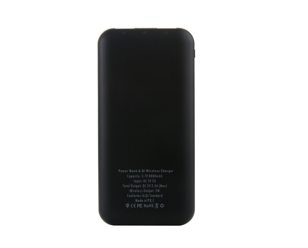 wholesales custom  Indicator light power bank qi wireless 10000mAh ultra slim case white