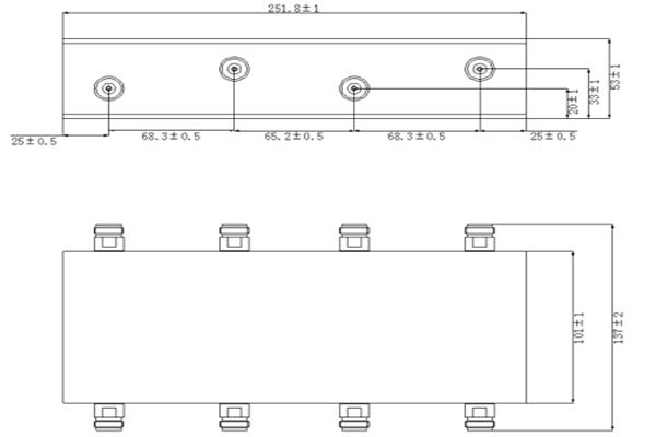 IP65 Low PIM 380-2700MHz 4 x 4 Hybrid Coupler JX-BC4X4-380M2700M-xxF