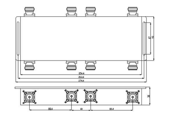 IP65 698-2700MHz 4×4 Hybrid Coupler  JX-BC4X4-698M2700M-4310F150