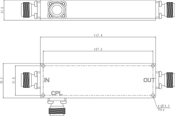 50W Directional Coupler 450-960MHz JX-DC-450M960M-20Nx