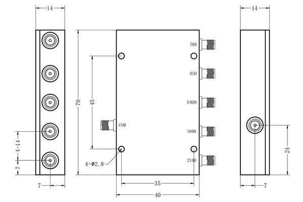 5 Ways LC Combiner SMA-F Connector 758-2170MHz Low Insertion Loss Small Volume JX-LCC5-758M2170M-S20