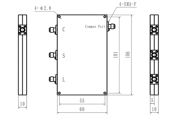 3 Ways Cavity Combiner SMA-F Connector 1429-5250MHz Low Insertion Loss Small Volume JX-MC3-1429M5250M-20S