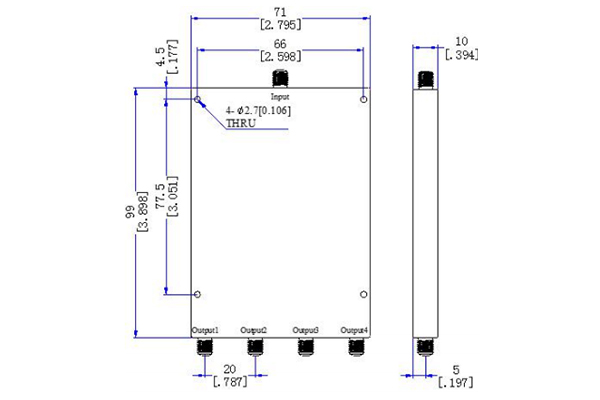 Power Divider 4 Ways SMA-F Connector 1G-18GHz JX-PD4-1G18G-16S