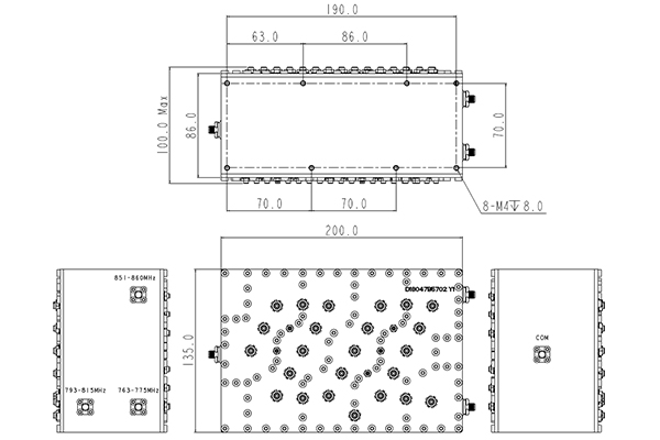3 Ways Cavity Combiner SMA-F Connector 763-860MHz Low In-band Ripple Small Volume JX-TRIPLEXER-811D