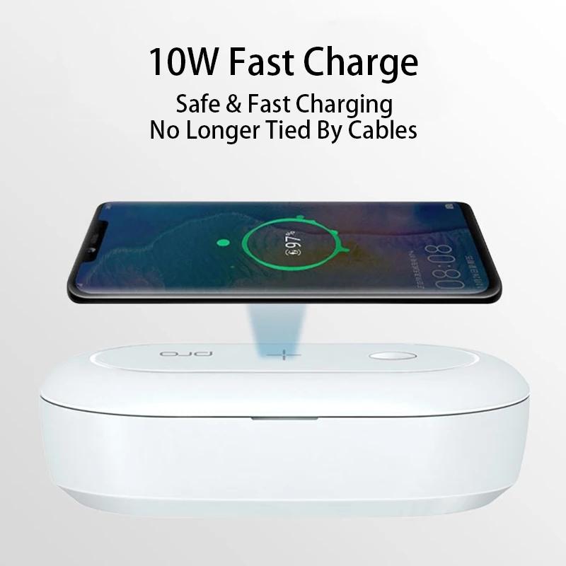 QI Fast Charging Wireless Charger Portable  UV Sterilization Box Dual UV Light Sterilizer