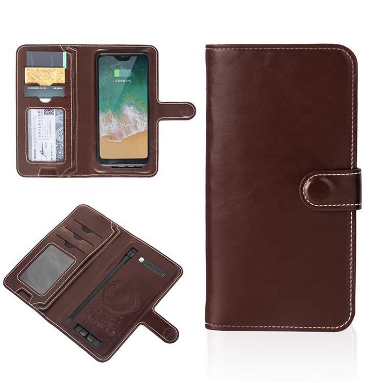 Women PU long chargeable wallet custom logo wallet fashion wireless battery packs wallet for mens