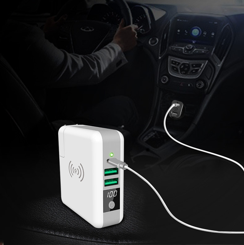 6700MAH Power Bank Portable Travel Charger QI Wireless Mobile Charger 3 In 1 For Iphone Samsung Etc