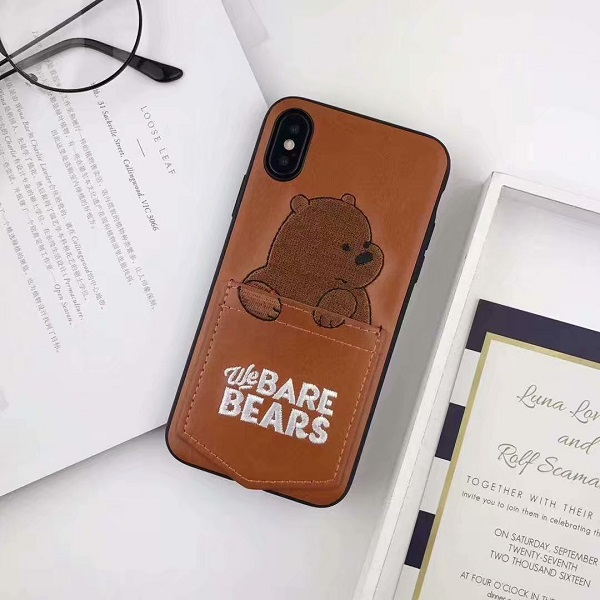 Bare bears mobile phone leather case