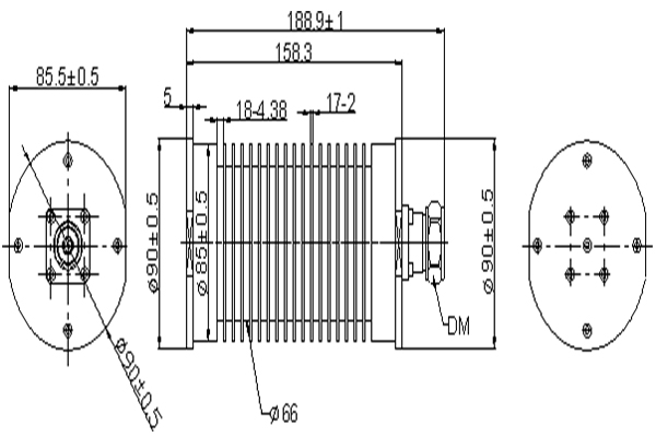 IP65,100W, Low PIM DC-3GHz Coaxial Load JX-PL-30M3000M-100WDM