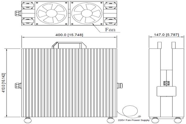 10dB/20dB/30dB/40dB/60dB High Power 1000W Attenuator Operating From DC-3GHz JX-AT-DC3G-1000Wxx