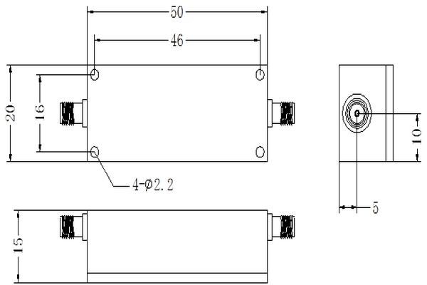 VHF Bandpass LC Filter Operating From 202-240MHz JX-LCF-227.5-25