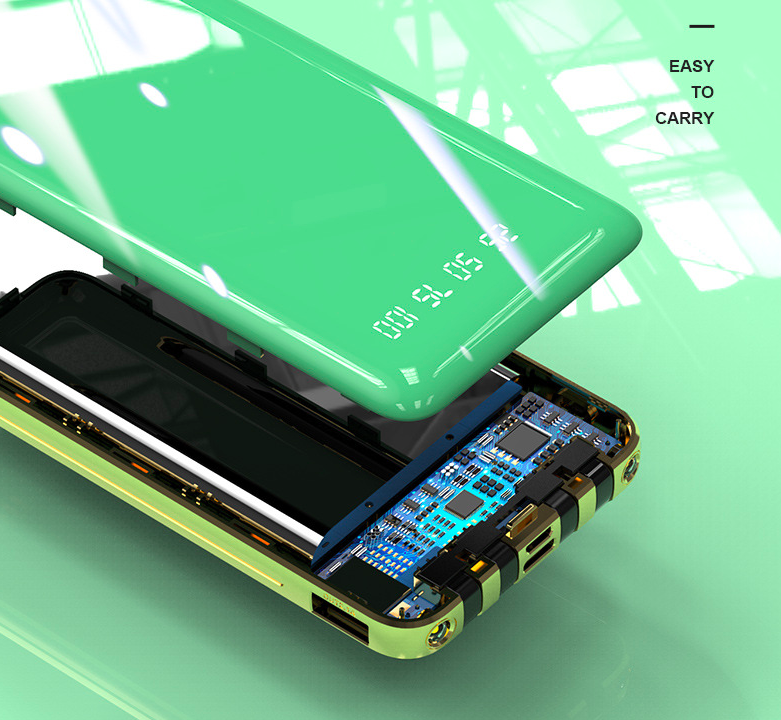10000mah build in cable  type-c  lighting  portable usb power bank