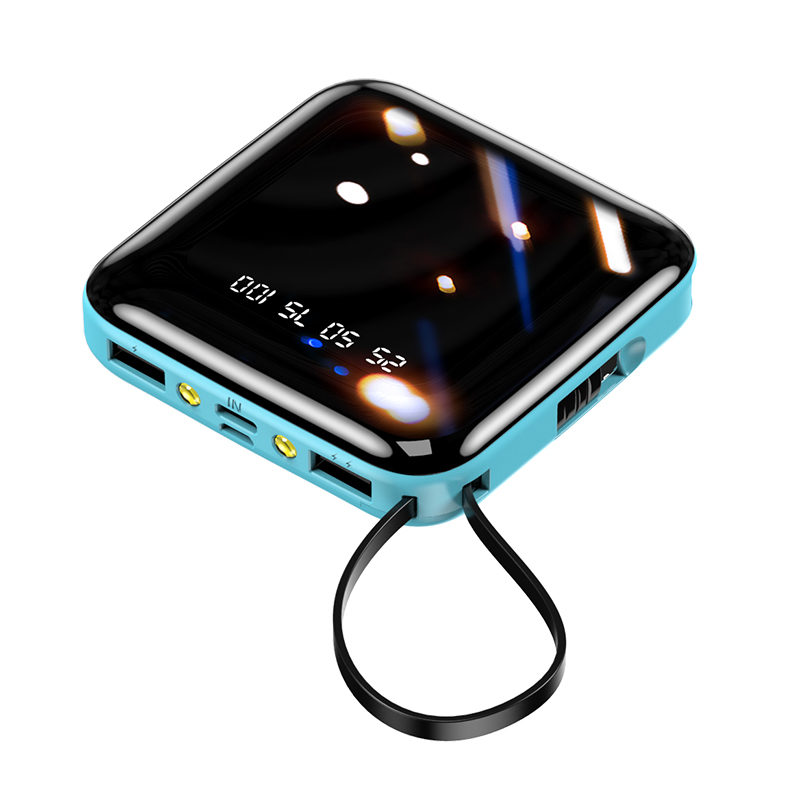 portable Mobile Power Bank 20000mAh With Built-in 4 Cables Digital LED Display