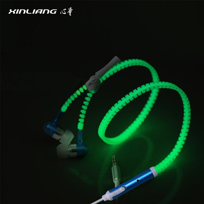 Fashion luminous zipper earphone