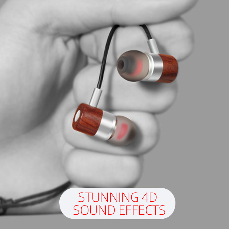 Woodbuds IX Wooden wire earbuds 3.5mm with microphone