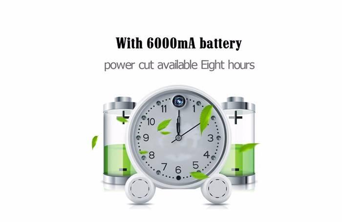 Wireless Hidden Clock Camera battery backup with API
