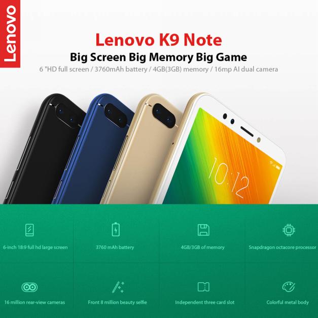 LENOVO K9 NOTE 3GB 32GB MOBILE PHONE564