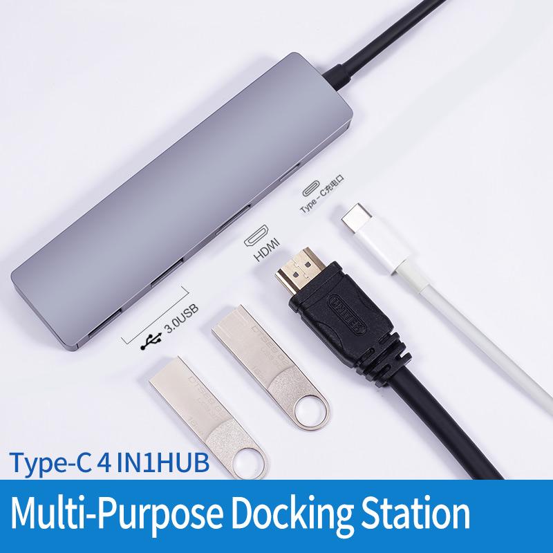 H03PD 4 IN 1 Type C To 4K HDMI, PD 100W, 2xUSB 3.0 HUB