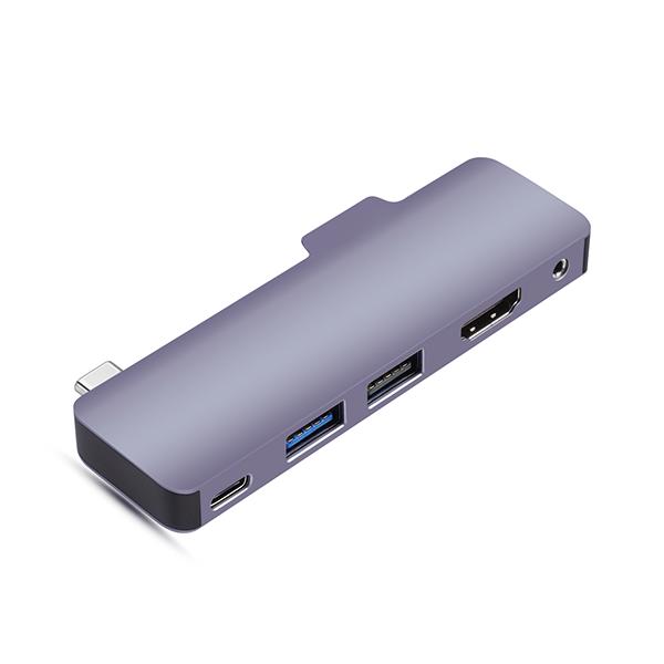 P02 5 IN 1 USB C HUB for iPad Pro with HDMII, 100 W PD, USB2.0 , USB3.0, 3.5mm Jack